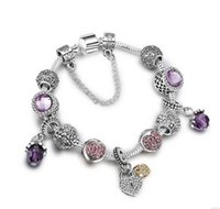 Wholesale Purple Glass Plates - Fashion 925 Sterling Silver Purple Cherry Murano Lampwork Glass & Crystal European Charm Beads Fits Pandora Charm bracelets Style Bracelets