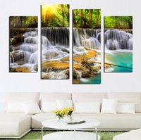 4 Panel Wall Pictures for Living Room Art Waterfall Cuadro de lienzo Modular Picture Posters and Prints Cuadros Paintings