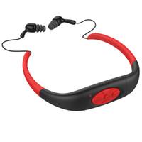 schwimmen mp3 ohrhörer großhandel-Wholesale- 100% wasserdicht 4GB MP3-Musik-Media Player Unterwasser Neckband-Schwimmen-Sport-MP3-Player mit FM-Radio Stereo-Audio-Kopfhörer
