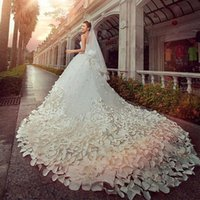 Wholesale Newest Luxury Flowers Dress - Luxury Wedding Dresses Sweetheart Crystals Beads 2017 Newest Handmade Flower A Line royal Train Tulle Hot Church Bridal Gowns