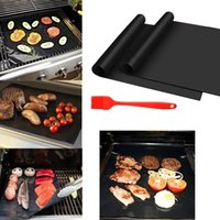 Wholesale 2016 Promotion Barbecue Grilling Liner Bbq Grill Mat Portable Non stick And Reusable Make Easy cm mm Black Oven Hotplate Mats By Dhl