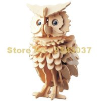 Wholesale Wholesale 3d Wood Puzzles - Wholesale- Owl Model 3d Puzzles Wooden Puzzles Diy Toy Wood Craft Handmade Toy Learning Educational Toys
