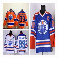 Wholesale 2017 mens Edmonton Oilers Wayne Gretzky Orange Blue White With C Patch Jersey Authentic Hockey Stitched Jersey