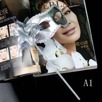 Wholesale Masquerade Sticks - colorful drawing gold line fringed princess party mask on stick flower side Venetian masquerade mix color free shipping