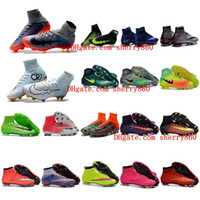 Wholesale Soft Red Leather Shoes - Mens Women Kids Soccer Shoes Mercurial Superfly CR7 FG Football Boots Magista Obra 2 Soccer Cleats Cristiano Ronaldo Forged for Greatness
