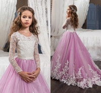 Discount pictures kids pageant dresses - Adorable Lace Appliqued Girls Pageant Dresses For Weddings Sheer Long Sleeves A Line White and Pink Gowns for Girls Kids First Communion