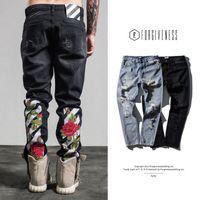 Wholesale Male Printed Denim - 2017 Summer new arrival Luxury rose embroidery Mens Ripped Jeans Straight Skinny Slim Blue biker Jeans men Denim fashion Holes pants male