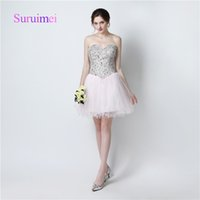 Wholesale One Long Sleeve Mini Dress - Free Shipping Prom Dresses Vestidos de Noiva with Crystal Cocktail Dresses Mini Above Knee Sweetheart Neck Tulle