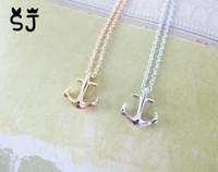 nautische halsketten großhandel-10 STÜCKE-N049 Gold Silber Tiny Boat Anchor Halskette Seitlich Herren Navy Nautical Anchor Halsketten Bootshaken Halskette für Frauen