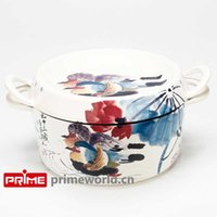 Wholesale Prime Enameled Cast Iron Covered Dutch Oven Casserole White Color Painting Enamel Cookware Round Doufeu Cooking Dish Affectionate couple