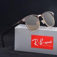 Wholesale glasses half frame cat eye online - Excellent Quality Glass Lens Fashion Sunglasses For Men Women brand design Semi Rimless Sun Glasses uv400 Eyewear With Brown Case