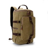 Men Fashion Travel Cylinder Canvas Sac à dos School Sac à dos pour adolescent Vintage Casual Large Capacity Travel Cylindrical Luggage Bag