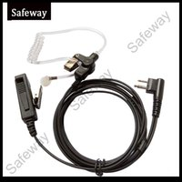 Wholesale Fbi Earpieces - FBI 2 wire two way radio acoustic tube earpiece with clear tube PPT headset for Motorola CP040,GP300 etc