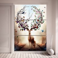 Wholesale Elk Painting - 3 Piece Canvas Art Dream Forest Elk Deer Poster HD Printed Wall Art Home Decor Canvas Painting Picture Prints Free Shipping NY-6829C