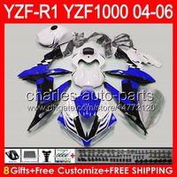 yamaha stern großhandel-8 Geschenke Körper für YAMAHA YZF R1 04 05 06 YZF-R1 04-06 Stern weiß 93NO70 YZF 1000 YZF R 1 YZF1000 YZFR1 2004 2005 2006 TOP Stern blau Verkleidung