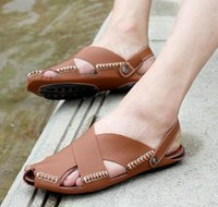 Wholesale Korean Summer Shoes Men - Summer new men's shoes Korean version of the beach really leather leather sandals cool drag shoes