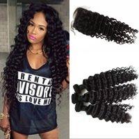 Wholesale hidden knots closure resale online - Deep Wave Silk Base Closure with Weft Vietnamese Human Hair Weaves with Closure Hidden Knots FDSHINE