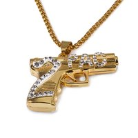 Wholesale 2pac Gun - Fayelight Yellow Gold Plated Iced Out 2PAC Rapper Gun Pendant Necklace Men bling Hip Hop Rap Clear Crystal Jewelry Body Chain