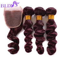 Wholesale Cheapest Bundle Hair - Cheapest New Mink 99j Peruvian Loose Wave With Closure bundles with lace closure Red 99j virgin human hair Weave