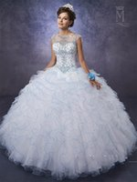 af3b5f9ce5e Ruffle Skirt Quinceanera Dresses 2017 Mary s with Sheer Neck and Lace Up  Back Layered Turq Tulle Sweet 15 Dress with Basque Waist