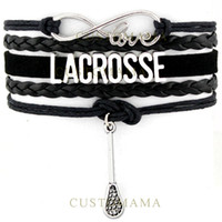Wholesale Mom Silver Bangle Bracelet - Custom-Infinity Love Lacrosse Bracelet Lacrosse Mom bracelet Black Wax Cord Leather Wrap Wristband Adjustable Bracelet Bangles-Drop Shipping