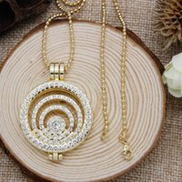 Wholesale Long Necklace Holder - Wholesale-Luxury Fashion Jewelry 32mm Multi Circle Coin Holder Pendant Necklace Locket 80cm Long Chain Necklace Set
