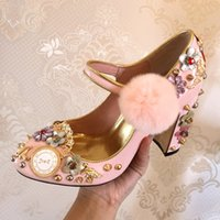 Wholesale Hair Flower Women - Pink Hair Ball Women Wedding Shoes Watch Clock Designer Flower Pumps Rivets Crystal Round Toe Shoes Woman Diamond Cute Zapatos Mujer