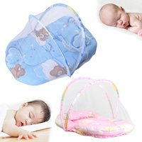 Wholesale baby crib canopy netting - Wholesale- Summer Baby Anti Mosquito Insect Crib Netting With Portable Folding Canopy Cushion+Cute Pillow Mattress Infant Bedding Sets