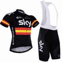 pantalones cortos de babero de jersey de ciclismo del equipo al por mayor-2017 SKY Team Pro Cycling Jersey + Pantalones cortos de ciclismo conjunto. Ropa de ciclismo para hombres Ropa de ciclismo Ropa Camisas Ropa Ciclismo Mtb, D016