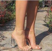 босоножки оптовых-Ким Кардашьян ПВХ женщины сандалии лодыжки ремень круглый прозрачный высокие каблуки 11 см реальные изображения горячие сексуальные сандалии прозрачный пластик Перспекс пятки