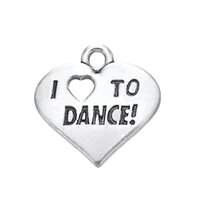 Wholesale Wholesale I Love Dance Charms - Top Selling Vintage Antique Silver Plated I Love To Dance Message Charm For DIY Jewelry Findings
