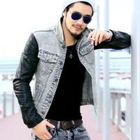 Wholesale Leather Jackets Fashion For Men - Wholesale- Fashion Men`s Denim Jacket With Leather Sleeves Slim Fit Vintage Patchwork Acid Washed Jean Jacket For Men