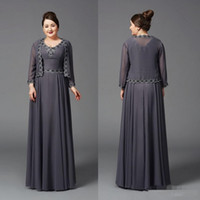 Wholesale Cheap Grey Brides Made Dresses - 2017 Cheap Plus Size Grey Chiffon Mother of the Bride Dresses With Jackets Wedding Dress Custom Made Lace Party Evening Gown Long Sleeves