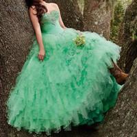 olivgrünes perlenpartykleid großhandel-Günstige Mint Green 2017 Quinceanera Kleider Ballkleid Perlen Strass Lange Süße 16 Jahre Party Kleider Vestido De 15 Anos