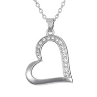 Wholesale Gold Filled Materials - Gold and Silver Zinc Alloy Material Heart Clear Rhinestone Pendant Love Life Handmade Jewelry Necklace