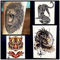Wholesale Temporary Tattoo Sticker Tiger - Wholesale- 21x15CM Creative Lion Temporary Tattoo Sticker Men Waterproof Body ARm Tattoo Tiger Fake Flash Tattoo Leopard Women Henna Tatoo