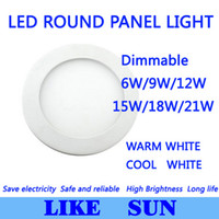 Vente en gros- Ultra Bright Ultra léger Dimmable 6W 9W 12W 15W / 18W 21W LED plafond encastré Grille Downlight / Slim Round Panel Light