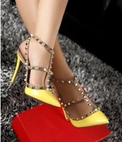 New Lady Pleather Point Toe Rivets Decorado Sexy High Heels Tornozelo Strap Pumps Shoes para Mulher, Partywedding