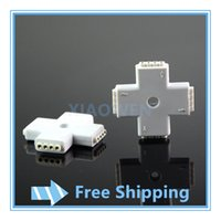 Wholesale Led Rgb Connectors Soldering Needed - NEW 20PCS 10mm 4pin X shape RGB led connector wireless for 5050 RGB strip light No need soldering easy connect