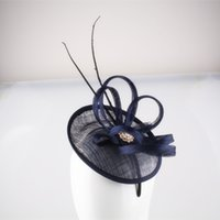 Wholesale Navy Sinamay - Free shipping Navy cocktail hats flower feather sinamay fascinator women hair accessories elegant fascinators for Grand Event Party 17COLORS