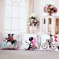 Wholesale fairy knitting - Wholesale- Pillow Case Fairy Bike Cotton Linen Pillows Case Cover Flower Throw Cushions Without Insert Digital Printing Butterfly House 10