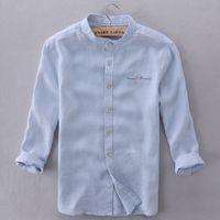 Wholesale Modern Men Shirts - Wholesale- Italy brand shirts men linen sky blue modern solid shirt men casual three quarter sleeve shirt mens fashion summer mens shirts