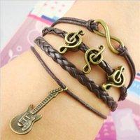 Wholesale european american music - Bronze woven bracelet diy guitar music breaks European and American retro Bracelet Hand-woven bracelets multilayer c119