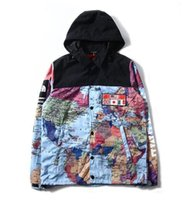 Wholesale 2017 new M Suprem jacket Flag mosaic Mens Hoodie North America map Jacket windbreaker The map of the world reflecting Coat