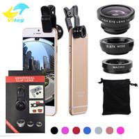 lentes de câmera universais venda por atacado-3 em 1 universal clipe de metal lente da câmera do telefone olho de peixe + macro + grande angular para iphone 7 samsung galaxy s8 com pacote de varejo