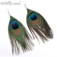 Wholesale New Arrivals Fashion Jewelry Long Eardrop Dangle Statement Earring Peacock Feather Earrings for Women Jewelry ES0229