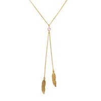 Wholesale Crystal Necklace Sale Online - Fashion Personalized Chain Online For Sale Gold Color Feather Long Necklace Pendant Wholesale Handmade Women Jewelry