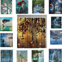 Wholesale Tree Print Curtain - Waterproof Polyester Shower Curtain Fall Trees Digital Print Shower Curtain with Hooks Bathroom Decor Gifts 165*180CM LJJK772