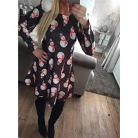 Wholesale womens plus size clothing online - 2017 Dresses For Womens With Print Christmas Vestidos Winter Dresses Plus Size Women Clothing Casual Dress Party Elegant A Line Clothes