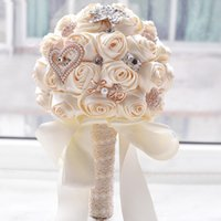 Wholesale Bride Bouquets White - In stock Stunning Wedding flowers White Bridesmaid Bridal Bouquets artificial Rose Wedding Bouquet D373